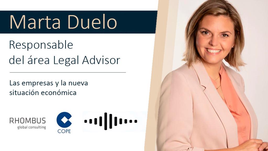 Entrevista a MartaDuelo, responsable del área LegalAdvisor de Rhombus, en COPE